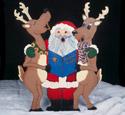 Caroling Santa & Reindeer Wood Pattern