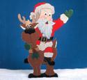 Santa Riding Reindeer Woodcraft Pattern