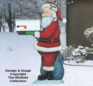 Mailbox woodworking plans santa mailbox holder woodcraft for Wood lawn ornament patterns
