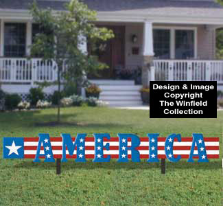 America Yard Sign Woodcraft Pattern
