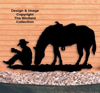 Horses Coffee Break Cowboy Shadow Wood Pattern