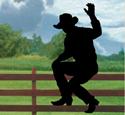 Waving Cowboy Fence Shadow Wood Pattern