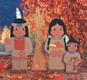 Indian Family & Corn Stalk Woodcraft Pattern