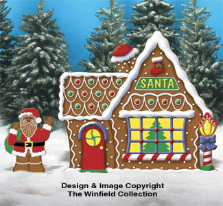 gingerbread santa house woodcraft pattern - Christmas Gingerbread House Yard Decoration