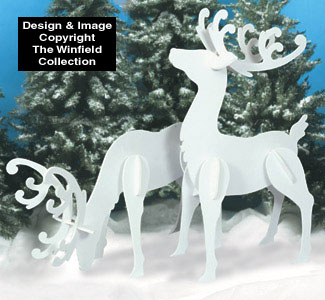 large white reindeer wood patterns - Decorative Christmas Sleigh Large