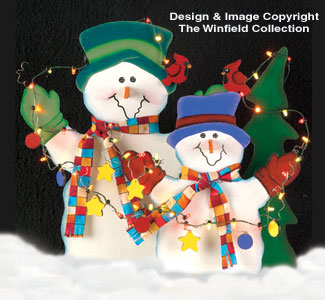 Lighted Snowmen Wood Pattern