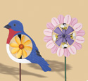 Bird & Flower Whirligigs Wood Pattern
