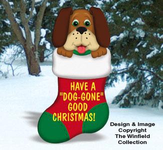 All Christmas Dog Gone Christmas Stocking Wood Pattern