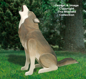 3D Life-Size Howling Wolf Wood Pattern