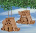 Cedar Cat and Dog Birdfeeders Wood Pattern