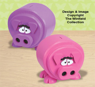 Plump Piggy Bank Wood Pattern