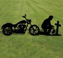 Biker Prayer Shadow Wood Pattern