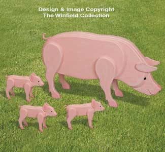 3d Animal Project Patterns 3d Life Size Pig Family Wood