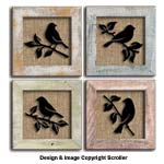 Raised Bird Silhouette Wall Art Pattern