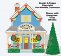 Christmas Village General Store Color Poster