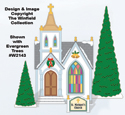 Christmas Village Church Color Poster