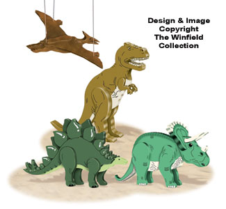 3D Dinosaurs Pattern Set #2