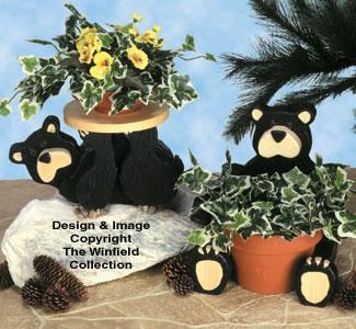 Black Bear Planters Wood Pattern