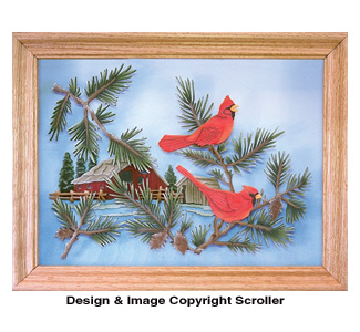 Country Cardinals Scroll Saw Art Pattern