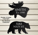 Bear & Moose House Plaques Wood Pattern