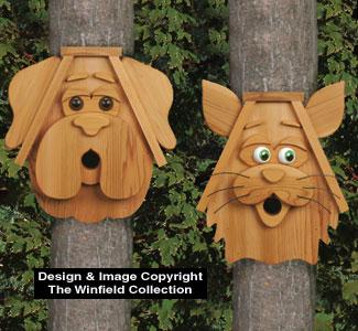Cedar Cat and Dog Birdhouses Wood Pattern