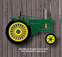 Small Green Tractor Wall Decor Woodcraft Pattern