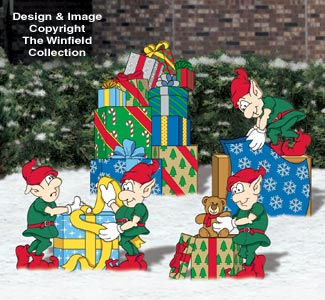 Gift Wrapping Elves Woodcraft Pattern