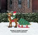 Tree-Hauling Reindeer Color Poster