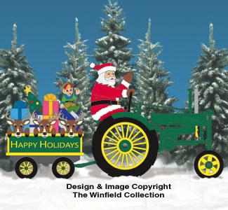 Waving Side View Santa #2, Tractor and Wagon Pattern Set