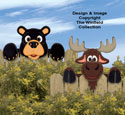 Bear & Moose Fence Peekers Wood Pattern