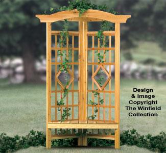 Outdoor Furniture Plans Corner Trellis Bench Woodworking Plan