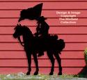 Flag Carrying Cowboy Shadow Pattern