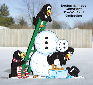 Penquins Penguins Building A Snowman Pattern