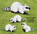 3D Raccoon Family Pattern