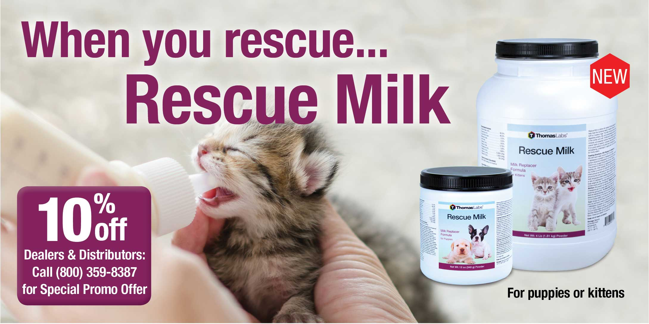 A better kitten milk replacer - Rescue Milk from Thomas Labs