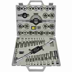 Tap and Die Set 45 Pc. Metric High Speed Steel Alloy with Case