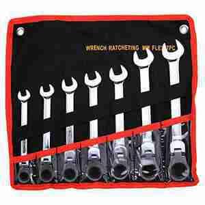 7 Pc. Combination Ratcheting Wrench Set Flex Metric Lifetime Warranty