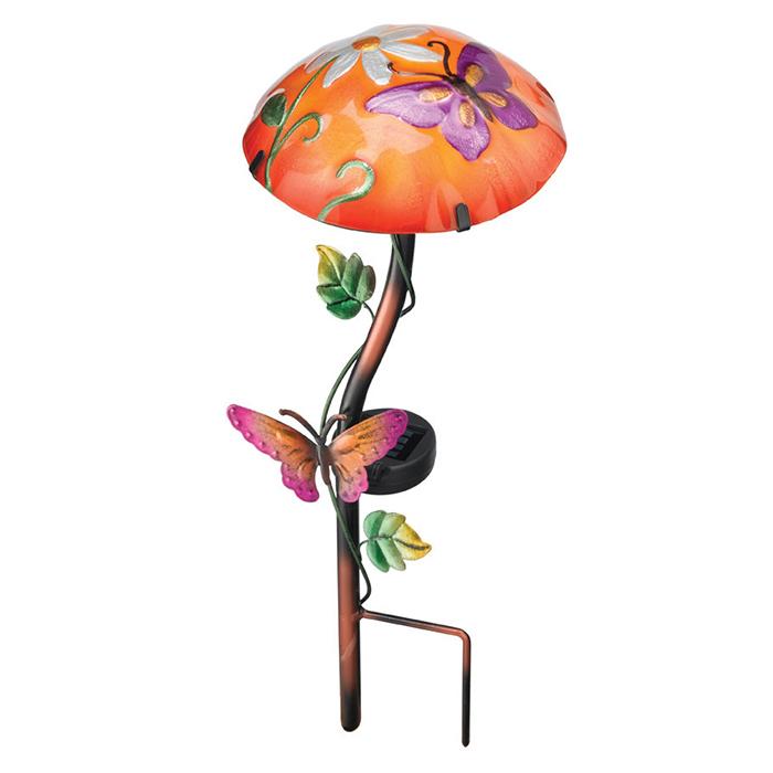 Solar Light Mushroom Stakes - Butterfly
