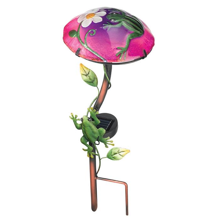 Solar Light Mushroom Stakes - Frog