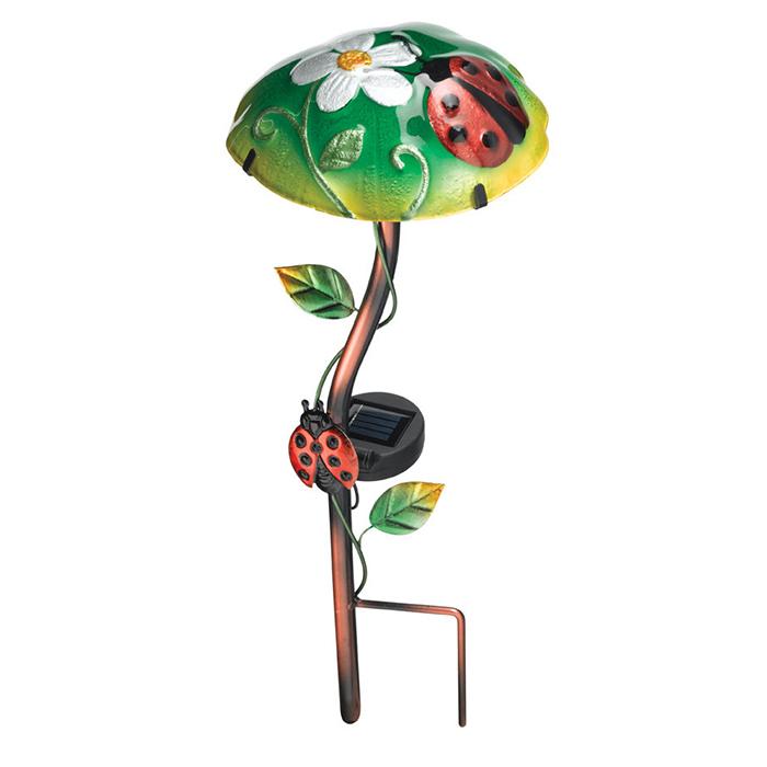 Solar Light Mushroom Stakes - Ladybug