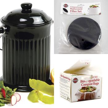 Black Ceramic Composter Keep Set