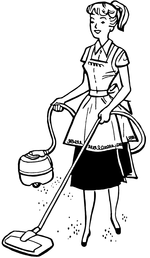 Drawing of woman vacuuming