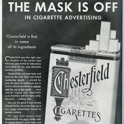 """The Mask is Off"" Chesterfield ad"