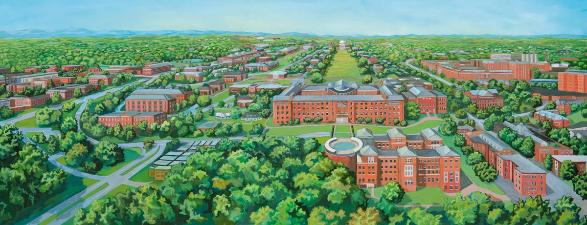 Using the same perspective as the Serz engraving, Steve Hedberg depicts a broader view of Grounds as it looks today.