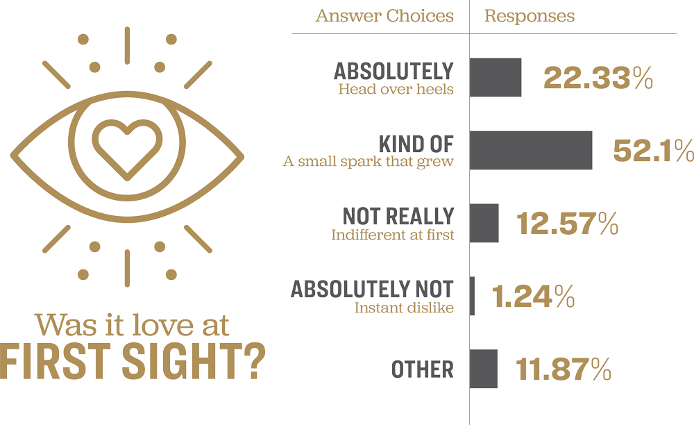 Chart showing survey results for the question 'Was it love at first sight?'