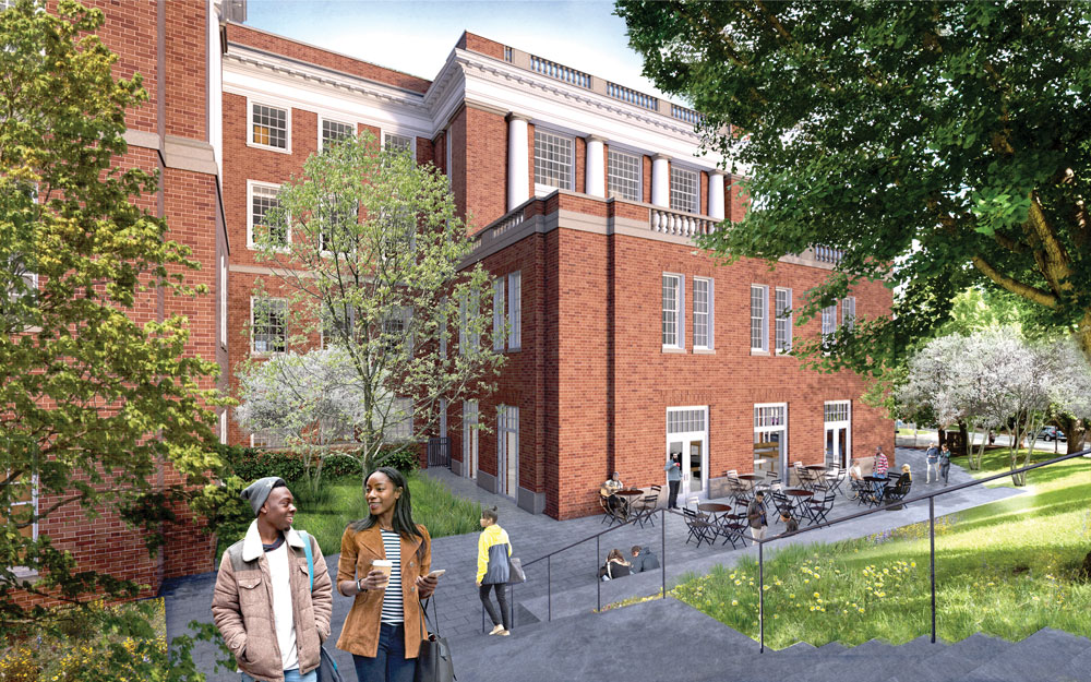 Rendering of new terracing on the east side of Alderman library