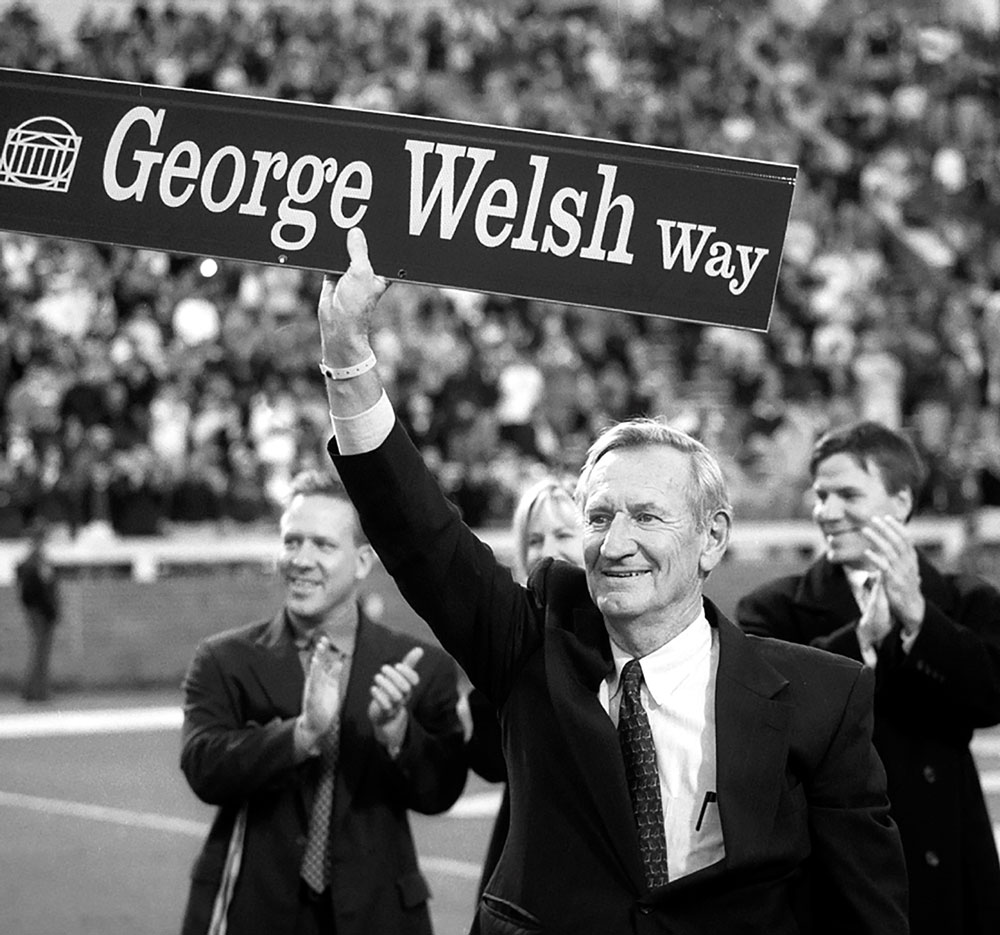 George Welsh celebrates the street named after him in 2001, the year after he retired