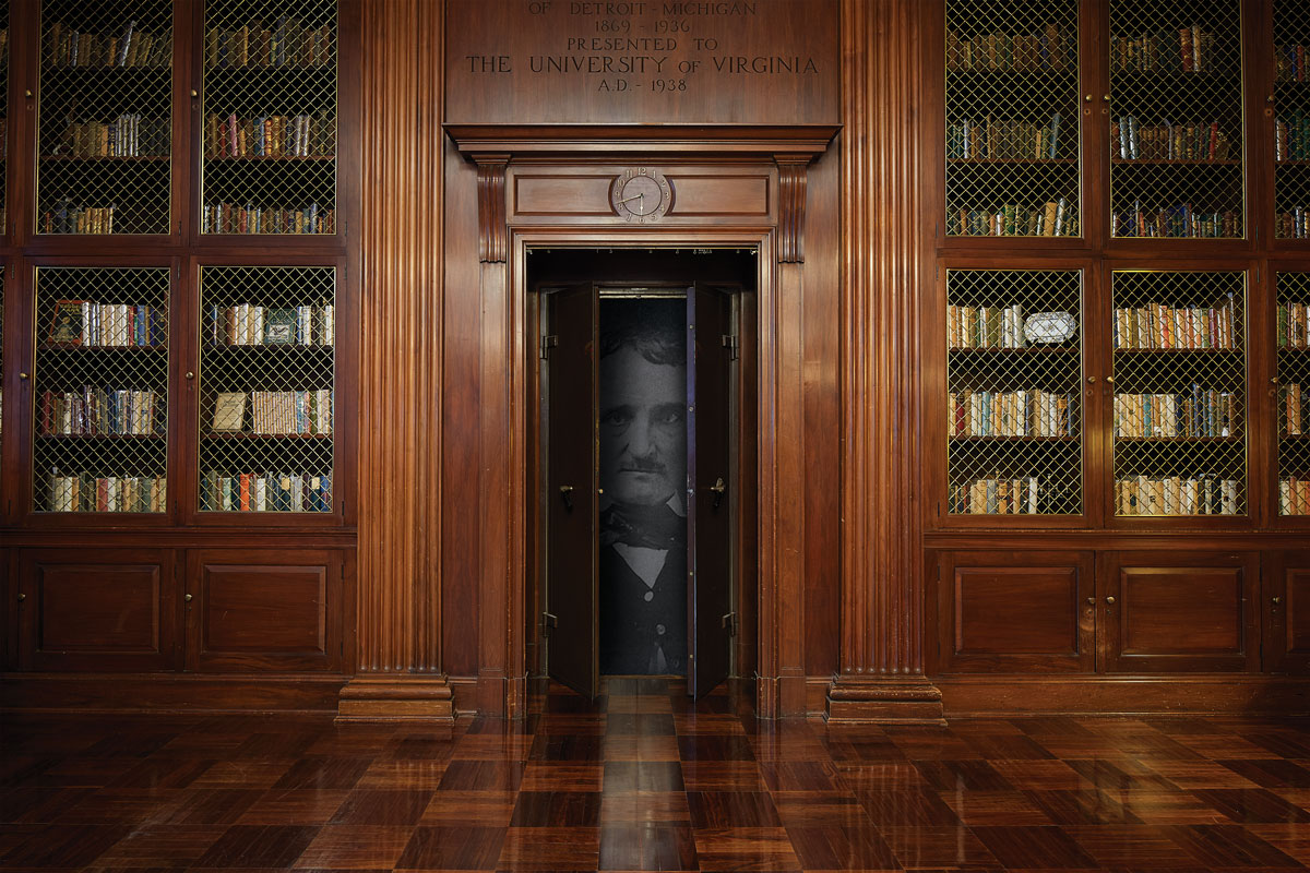 Photo illustration of the McGregor Room in Alderman Library, inset with picture of Edgar Allan Poe