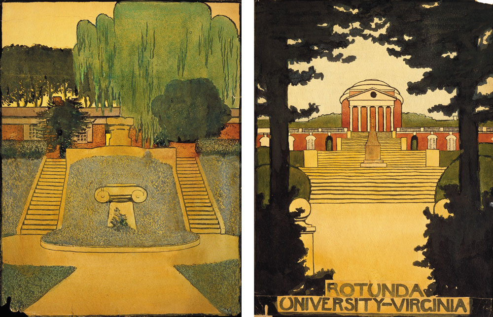 Untitled watercolors by Georgia O'Keeffe of the West Lawn and the Rotunda