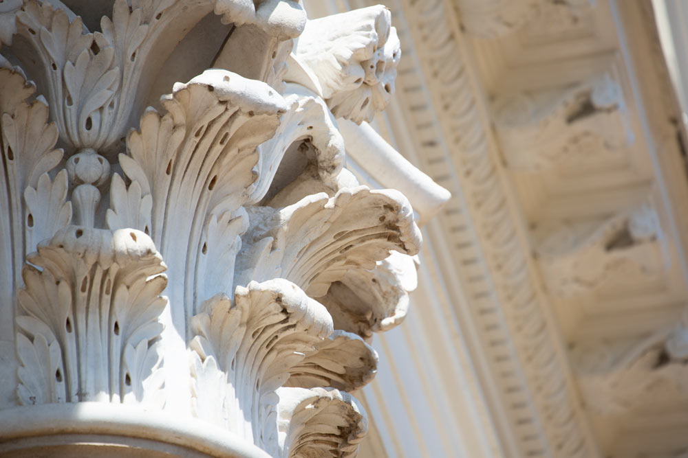 Close-up of an Italian marble capital atop one of Pavilion III's four Corinthian columns